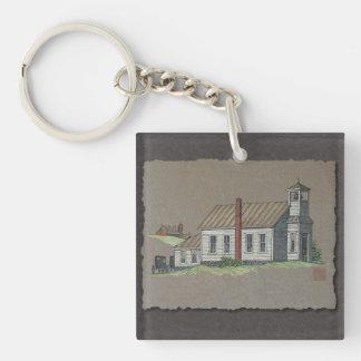 Wood Rural Church Keychain