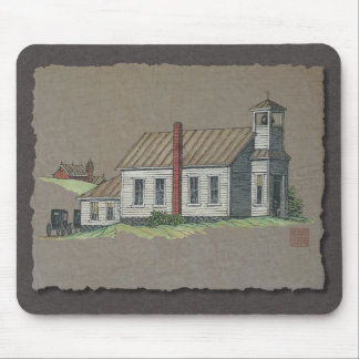 Wood Rural Church Mouse Pad