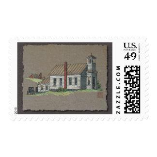 Wood Rural Church Postage Stamp