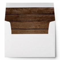 Wood Rustic Barn Country Wedding Return Address Envelope