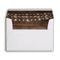 Wood Rustic Barn Lights Wedding Return Address Envelope