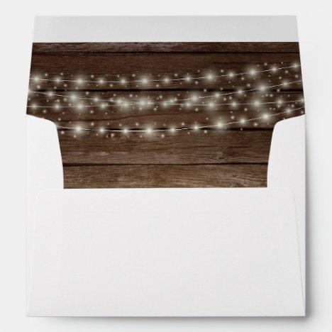 Wood Rustic Barn Lights Wedding Return Address Envelope