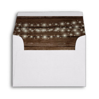 Wood Rustic Barn Lights Wedding RSVP Return Envelope