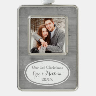 Wood Rustic First Christmas Couple Ornament