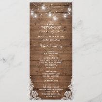 Wood Rustic String Lights Lace Wedding Program