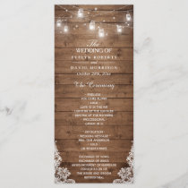 Wood Rustic String Lights Lace Wedding Program