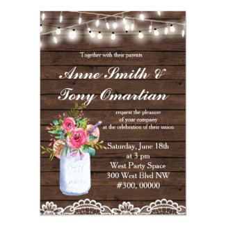 Wood Rustic Wedding Invitation