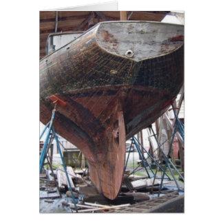 wood sailboat greeting card