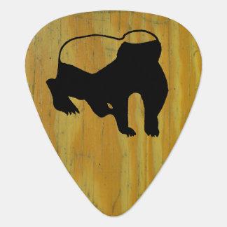 Wood School Desk and Badger Guitar Pick