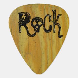 Wood School Desk Rock 'n Roll Carved Initials Guitar Pick