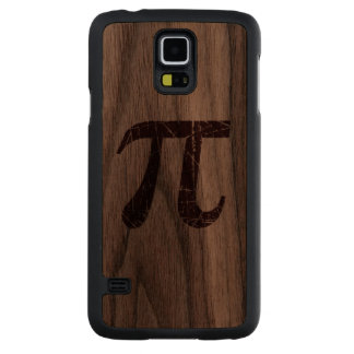 Wood Scratched and Aged Red Pi Math Symbol Carved® Walnut Galaxy S5 Case
