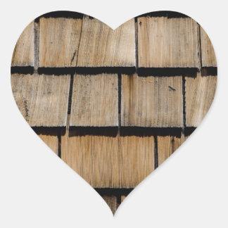 Wood shingle heart sticker