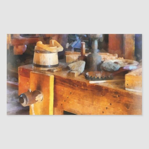 Wood Shop With Wooden Bucket Rectangle Stickers
