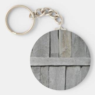 Wood Slat Wall Basic Round Button Keychain