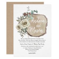Wood Slice Natural Rose and Eucalyptus Wedding Invitation