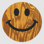 Wood Smiley Classic Round Sticker
