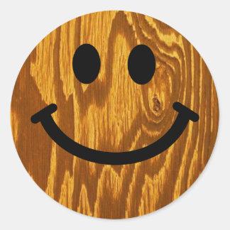 Wood Smiley Classic Round Sticker
