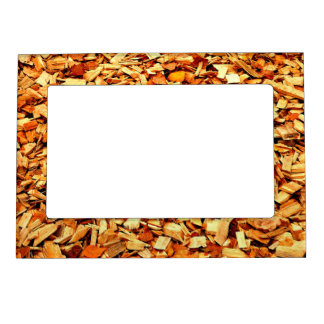 Wood Snippets with Autumn Leaves Magnetic Frame