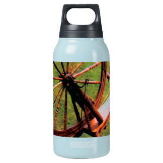 Wood Spinning Wheel Photo Image Insulated Water Bottle
