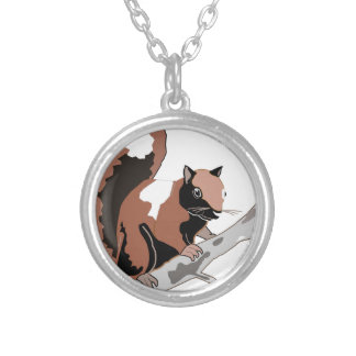 Wood Squirrel Silver Plated Necklace