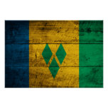 Wood St. Vincent & Grenadines Flag Posters