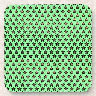 Wood Star Polka Dot Pattern Beverage Coaster