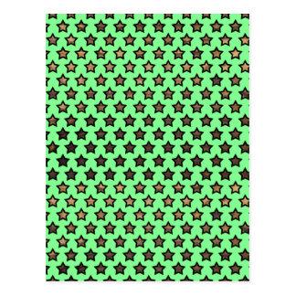 Wood Star Polka Dot Pattern Postcard