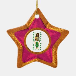 Wood star wood illusion photo border christmas tree ornaments