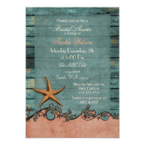 Wood Starfish Coral Rustic Beach Bridal Shower Card