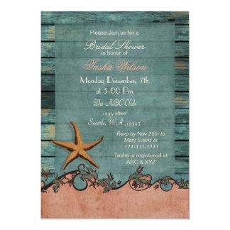 Wood Starfish Coral Rustic Beach Bridal Shower Card