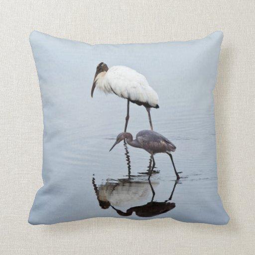 Blue Heron Throw Pillows : Wood Stork and Blue Heron Wading Throw Pillows Zazzle
