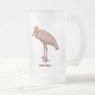Wood Stork Frosted Glass Beer Mug