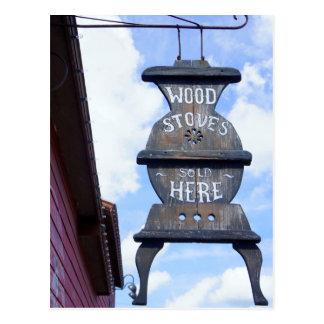 Wood Stove Sign Postcard