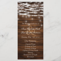 Wood string lights wedding programs