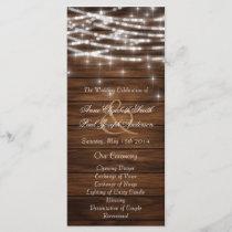 Wood string lights wedding programs