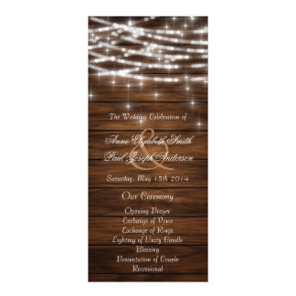 Wood string lights wedding programs customized rack card