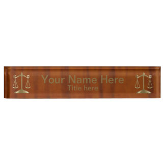 Wood Style Gold Scale of Justice Nameplate