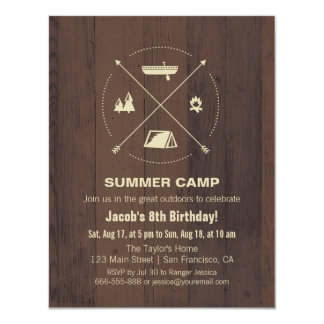Wood Summer Camp Birthday Party Invitations