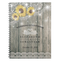 Wood Sunflower Lace String Light Wedding Guestbook Notebook