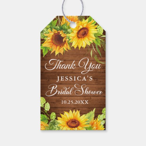 Wood Sunflower Rustic Bridal Shower Favor Gift Tags