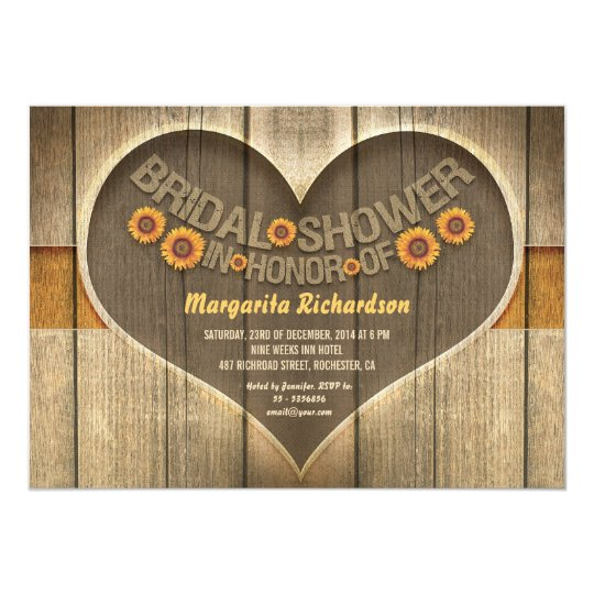 wood sunflowers country style bridal shower invite