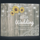 """Wood Sunflowers Lace String Lights Wedding Planner Binder<br><div class=""""desc"""">Wedding Planner Binder Templates - Vintage Sunflowers and Elegant Lace on Rustic Wood Background. All Text Style,  Colors,  Sizes Can Be Modified To Fit Your Needs.</div>"""