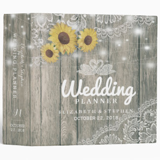 Wood Sunflowers Lace String Lights Wedding Planner Binder