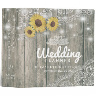 Wood Sunflowers Lace String Lights Wedding Planner Binder