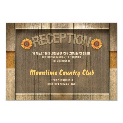 wood & sunflowers wedding reception design 3.5x5 paper invitation card