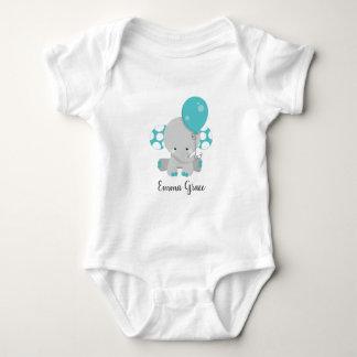 Wood & Teal Elephant Gender Neutral Baby Monogram Baby Bodysuit