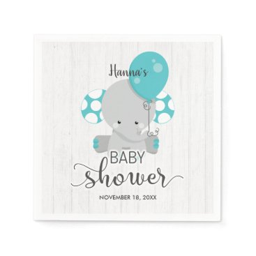 Wood & Teal Elephant Gender Neutral Baby Shower Paper Napkin