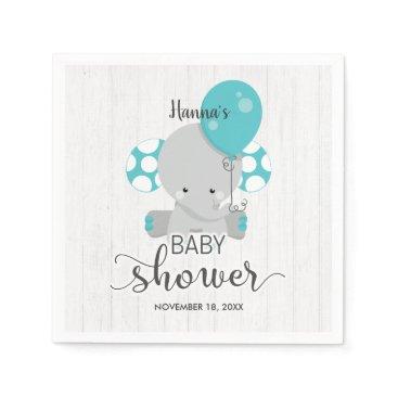 Wood & Teal Elephant Gender Neutral Baby Shower Paper Napkin