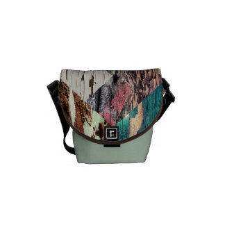 Wood Texture Collage Messenger Bag