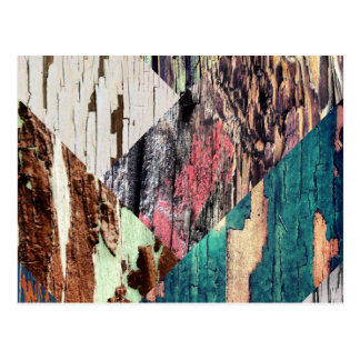 Wood Texture Collage Postcard
